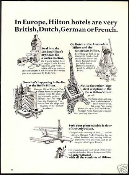 Hilton Hotel Europe British Dutch German French (1966)