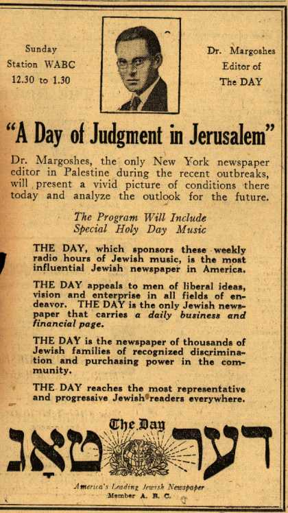 Day Newspaper's Radio Program – A Day of Judgement in Jerusalem (1929)