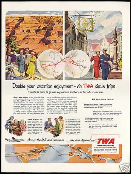 TWA Airlines Circle Trips U.S & Overseas (1950)
