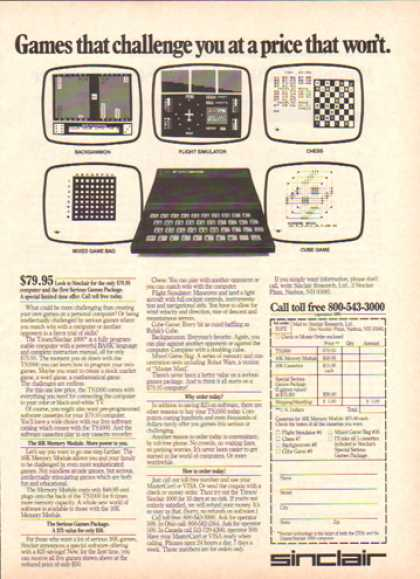 Sinclair Computer &#8211; First Serious Game Package (1983)