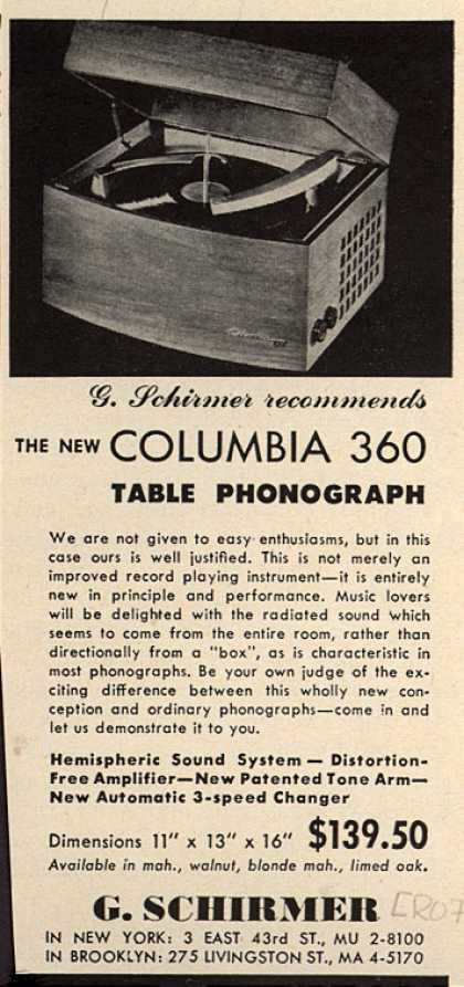G. Schirmer's Columbia 360 Table Phonograph – The New Columbia 360 Table Phonograph (1953)