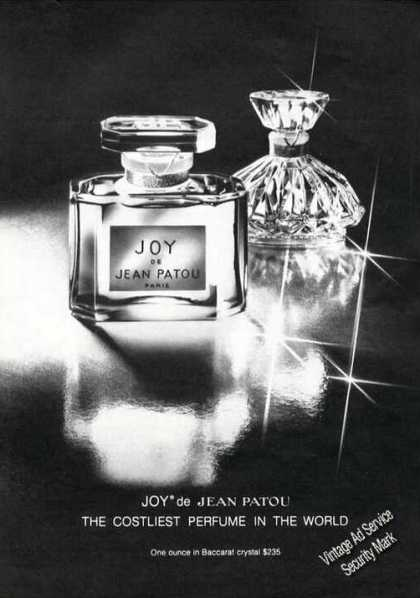 Joy De Jean Patou Costliest In World Perfume Adv (1978)