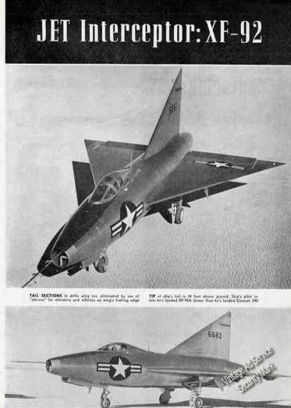Jet Interceptor: Xf-92 Rare Magazine Pictures (1950)