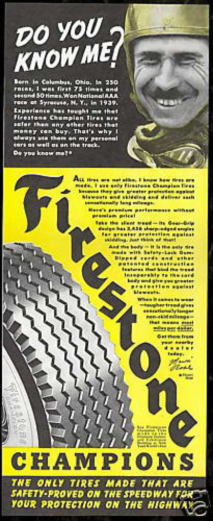 Mauri Rose Photo Vintage Firestone Car Tire (1940)