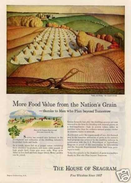 "Seagram's Ad ""Fall Plowing"" Grant Wood Art (1946)"