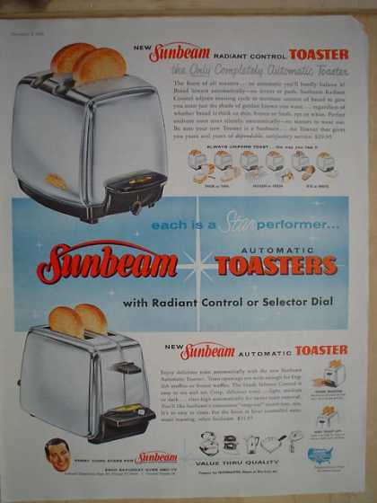 Sunbeam toasters Radiant Control Star performer (1958)