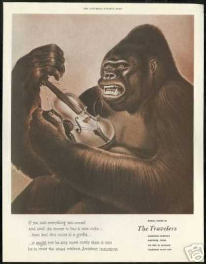 Gorilla Violin Durencean Travelers Insurance (1949)