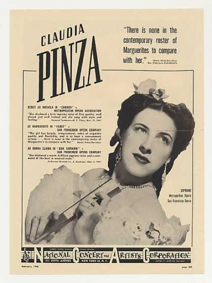 Met Opera Soprano Claudia Pinza Photo (1948)