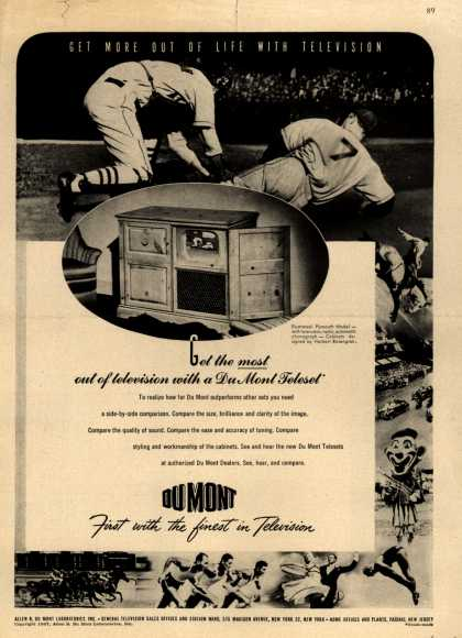 Allen B. DuMont Laboratorie's DuMont Teleset Television – Get More Out of Life With Television (1947)