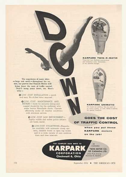 '54 Karpark Twin-O-Matic Unimatic Parking Meter Down (1954)