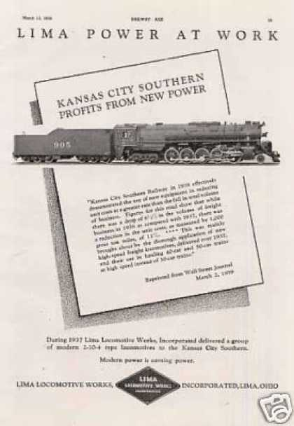 Lima Locomotive Ad Kansas City Southern 2-10-4#905 (1939)