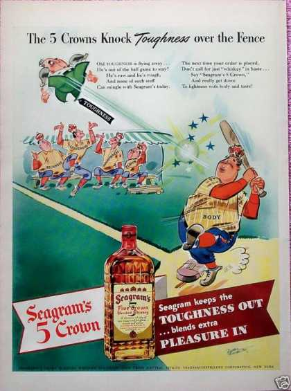Seagrams Five Crown Whiskey Baseball Hitter Knock (1942)