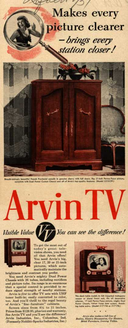 Arvin Industrie's Television – Makes Every Picture Clearer – Brings Every Station Closer! Arvin TV. VV, Visible Value. You Can See the Difference (1951)