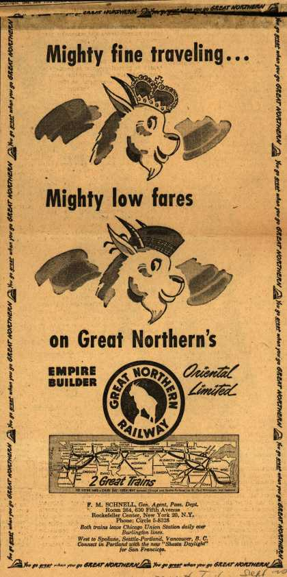 Great Northern Railway's Oriental Limited – Mighty fine traveling...Mighty low fares on Great Northern's Oriental Limited (1949)