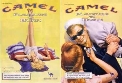 Camel Pleasure To Burn Ads – Set of 2 Yellow Ads (1999)