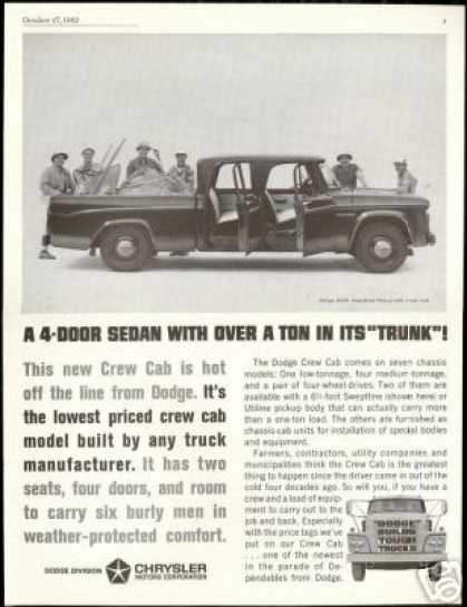 Dodge Crew Cab D200 Truck Pickup D-200 Photo (1962)