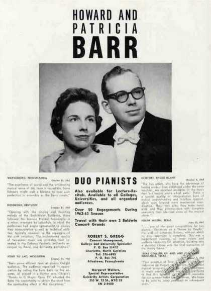Howard & Patricia Barr Duo Pianists Booking (1963)