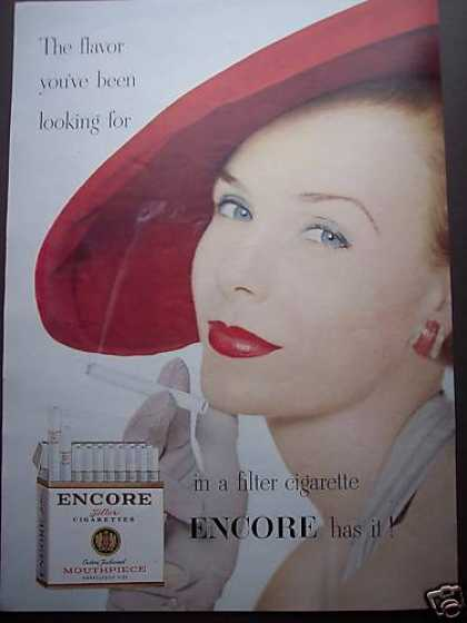 Pretty Woman In Red Hat Art Encore Cigarette (1953)