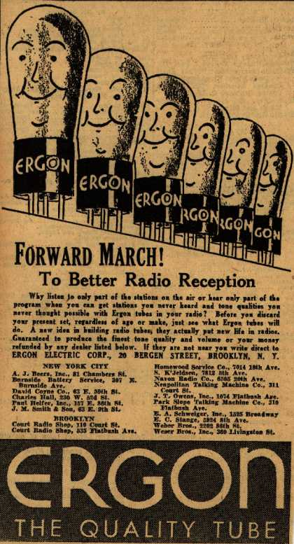 Ergon Electric Corp.'s Radio Tubes – Forward March! To Better Radio Reception (1930)