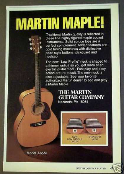 "Martin Maple Guitar W/ ""Low Profile"" Neck Music (1987)"