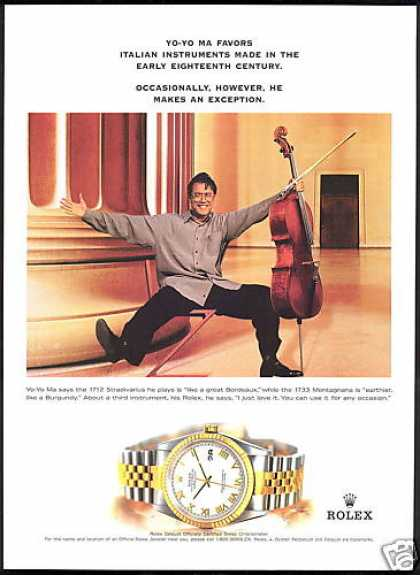 Yo Yo Ma Photo Rolex Datejust Watch (1999)