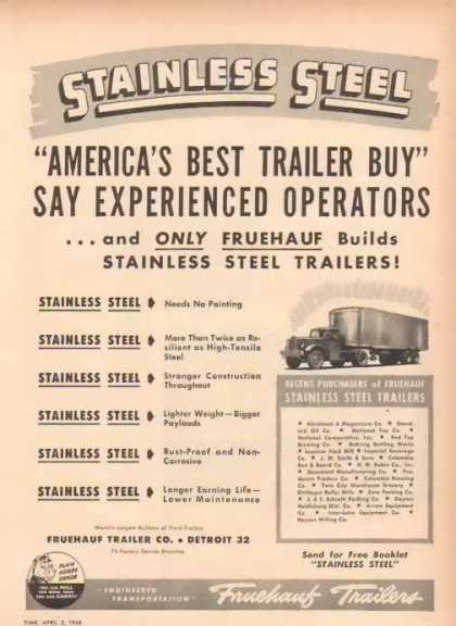 Fruehauf Trailers – Stainless Steel – Sold (1948)