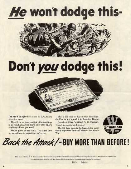 U. S. Treasury Dept.'s 5th War Loan – He Won't Dodge This-Don't You Dodge This (1944)