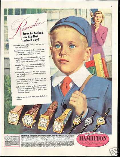 Hamilton Watch School Boy Prohaska Vintage Art (1949)