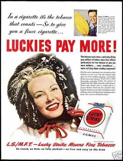 Lucky Strike Cigarette Pretty Woman Tobacco (1950)