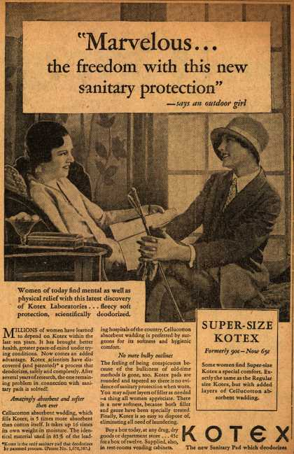"Kotex Company's Sanitary Napkins – ""Marvelous...the freedom with this new sanitary protection"" (1929)"