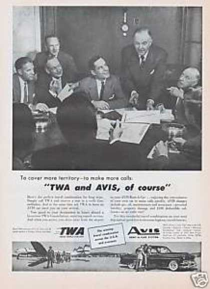 Twa Airlines Avis Rent a Car (1954)