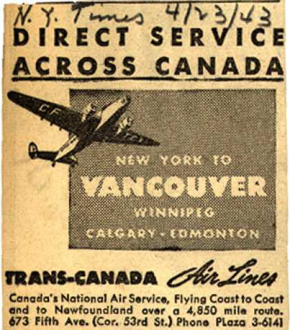 Trans-Canada Air Line's Canada – Direct Service Across Canada (1943)