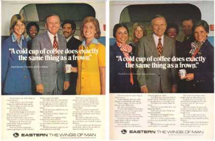 Eastern Air Lines Ads – Cold Cup of Coffee – Frank Borman Set of 2 (1977)