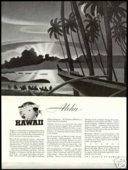Hawaii Travel Outrigger Horses Beach Aloha (1940)