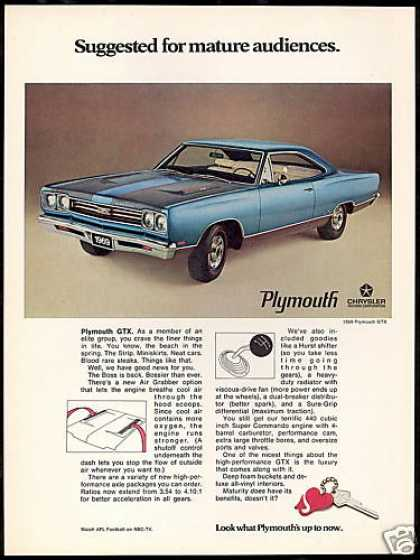 Plymouth GTX 440 Car Photo Print Vintage Car (1969)