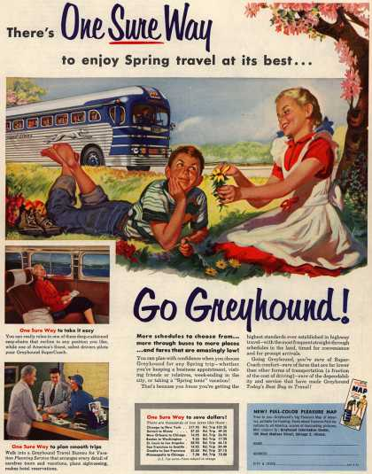 Greyhound's Spring Travel – There's One Sure Way to enjoy Spring travel at its best... (1953)