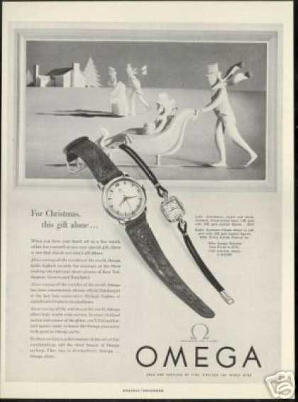 Ice Skating Skates Art Omega Watch (1953)