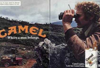 Camel Lights Man With Binoculars Jeep (1981)