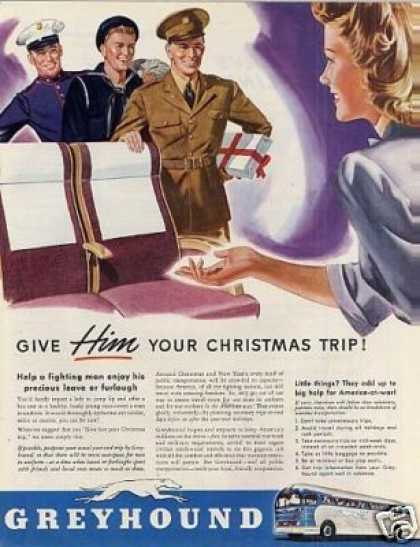 "Greyhound Bus Ad ""Give Him Your Christmas... (1942)"