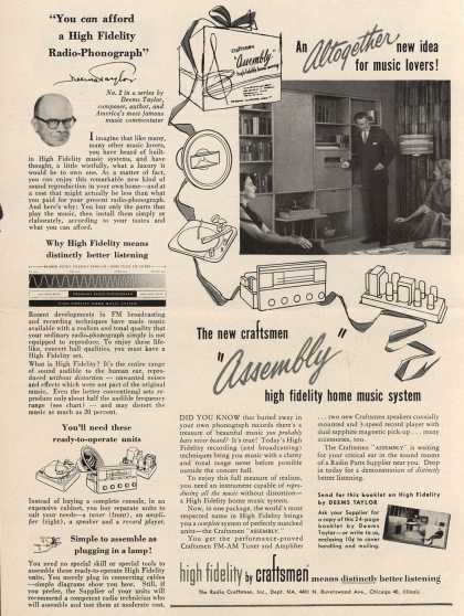 "Radio Craftsman, Incorporated's Hi-Fidelity Music Systems – An Altogether New Idea for Music Lovers! The New Craftsman ""Assembly"" High Fidelity Home Music System (1953)"