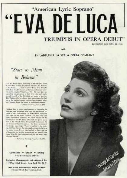 Eva Deluca Photo Lyric Soprano Opera Booking (1947)