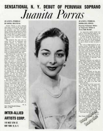 Juanita Porras Photo Peruvian Soprano Trade (1960)