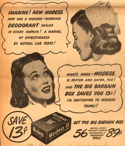 Modess – Imagine! New Modess Now Has A Wonder-Working Deodorant Sealed In Every Napkin (1945)