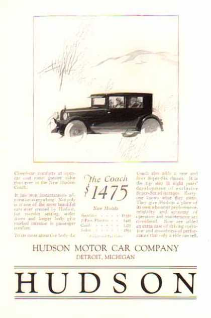 Hudson Car – The Coach / Closed Car Comfort (1924)
