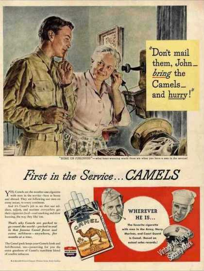 """Home On Furlough!"" Wwii Camel Cigarettes (1944)"