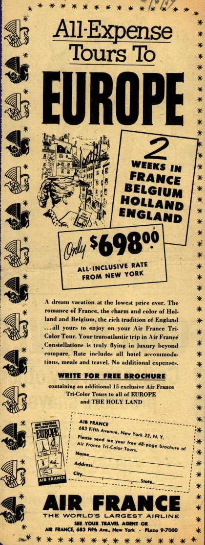 Air France's Europe Tours – All-Expense Tours to Europe (1954)