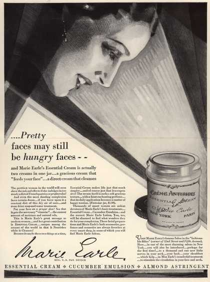 Marie Earle's Essential Cream – .... Pretty faces may still be hungry faces - (1928)