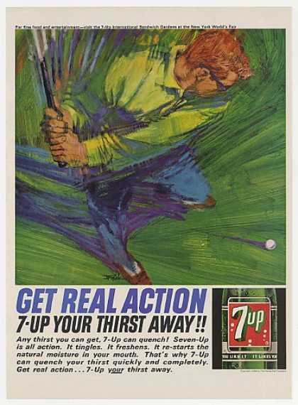 7-Up Get Real Action Bob Peak Golfer art (1964)