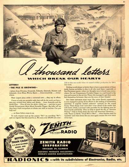 Zenith Radio Corporation's Transoceanic Short Wave Portable Clipper – A thousand letters Which Break Our Hearts (1943)