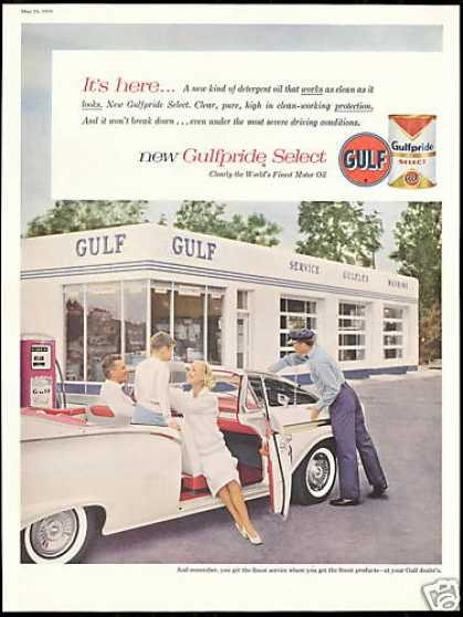 Gulf Gas Station Oil Ford Convertible Car (1958)